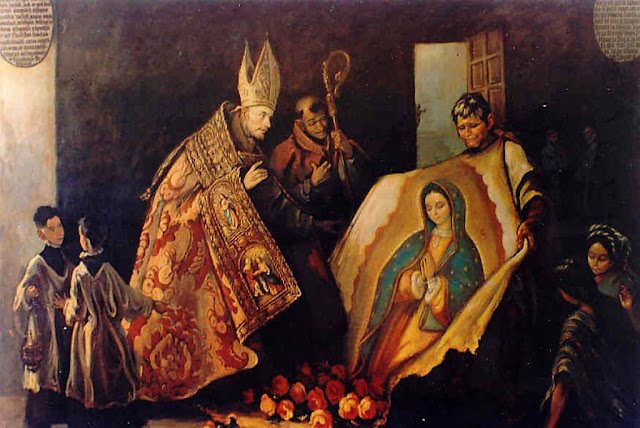 Juan Diego mostra a imagem da Virgem ao Bispo