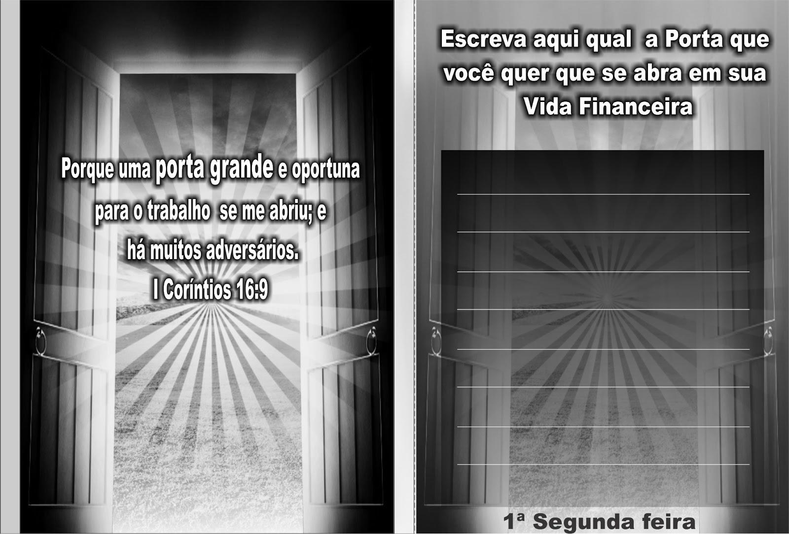 Trabalho universal cartela segunda das portas abertas for A ultima porta jejum coletivo