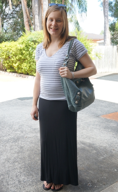 Away From Blue | Postpartum outfit stretchy stripe tee maxi skirt Balenciaga bag