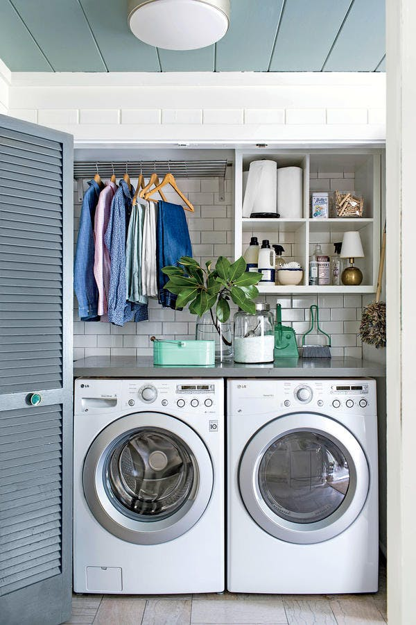 DIY Small Laundry Room Organization Ideas With Top Loading Washer 3
