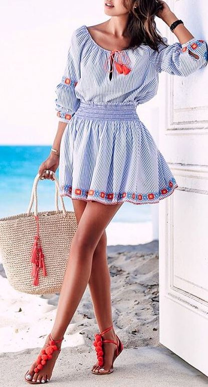 boho style outfit idea: dress + bag