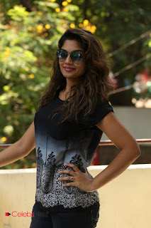 Actress Karuna Pictures in Jeans at Tholi Kiranam Press Meet 0001.JPG