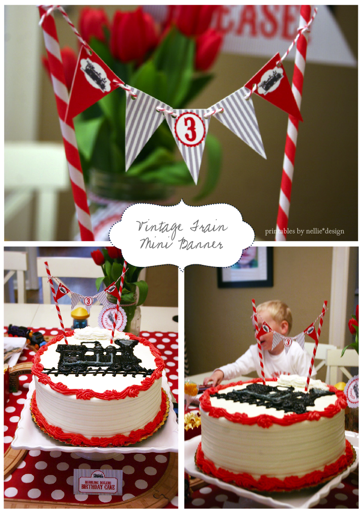We Had A Delicious Cake With Frosting Painted Locomotive On Top Mini Pennant Banner Topped It Off