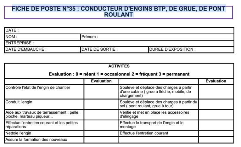 Fiche De Poste De Conducteur D Engins Btp Grue Pont Roulant