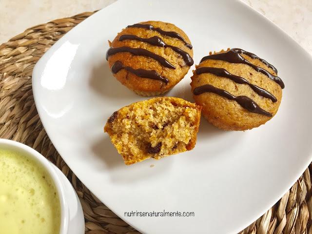 muffins veganos de calabaza y chocolate sin gluten