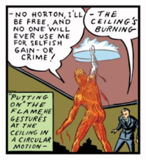 Marvel Comics (1939) #1 Page 16 Panel 9: Human Torch escapes Horton's evil intention to make a buck off his creation.