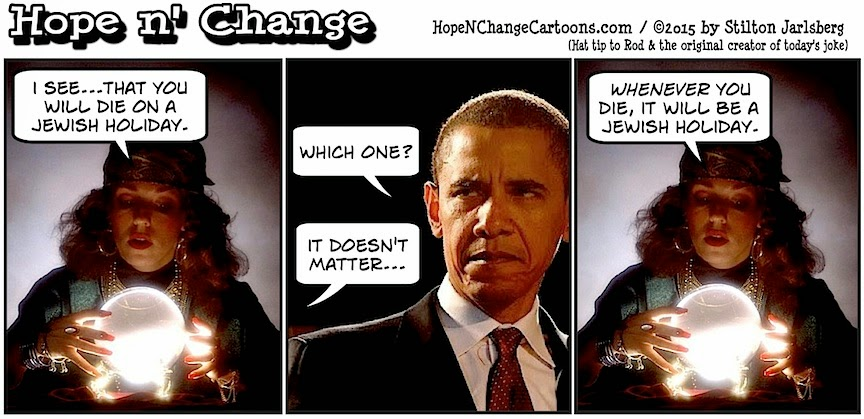 obama, obama jokes, political, humor, cartoon, conservative, hope n' change, hope and change, stilton jarlsberg, iran, israel, treaty, nukes, netanyahu, fortune teller