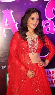 Actress Rashi Khanna Stills in Red Lehenga Choli at Apsara Awards 2016  0008.jpg