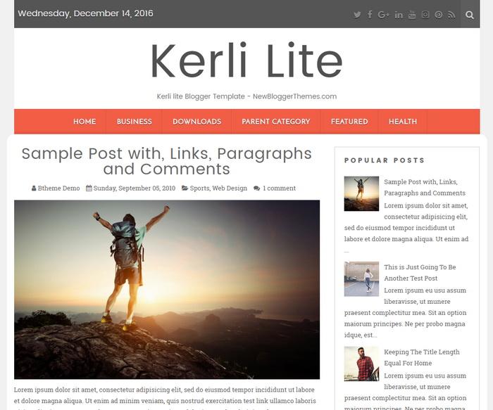 Kerli Lite blogger template