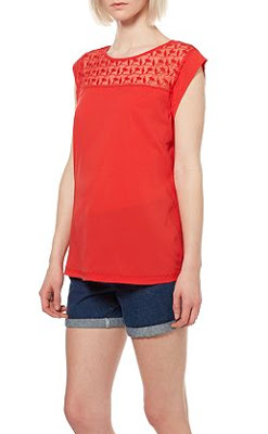 House of Fraser Therapy Embroidered Yoke Woven Front Top