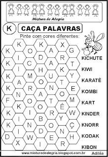 Caça palavras letra K