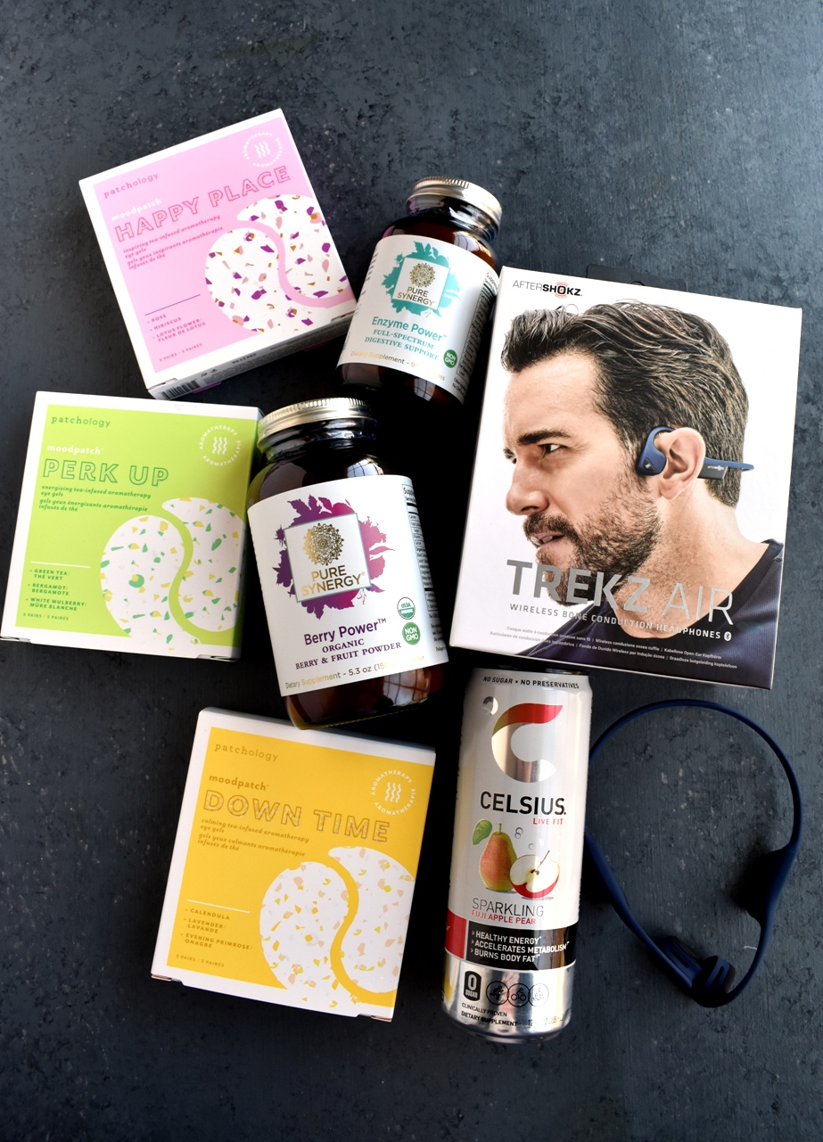 Healthy Products to Stay Active and Healthy this Spring including Patchology eye gels, Aftershokz Trekz Air headphones, Pure Synergy supplements and CELSIUS energy drink.