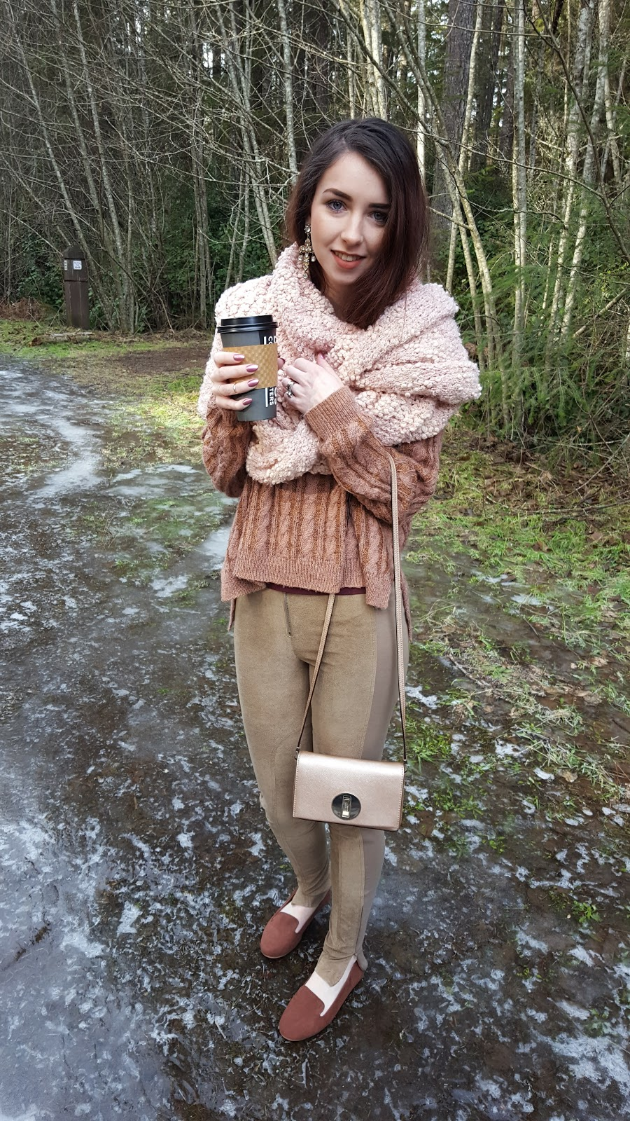 Winter outfit idea mixing neutrals and textures