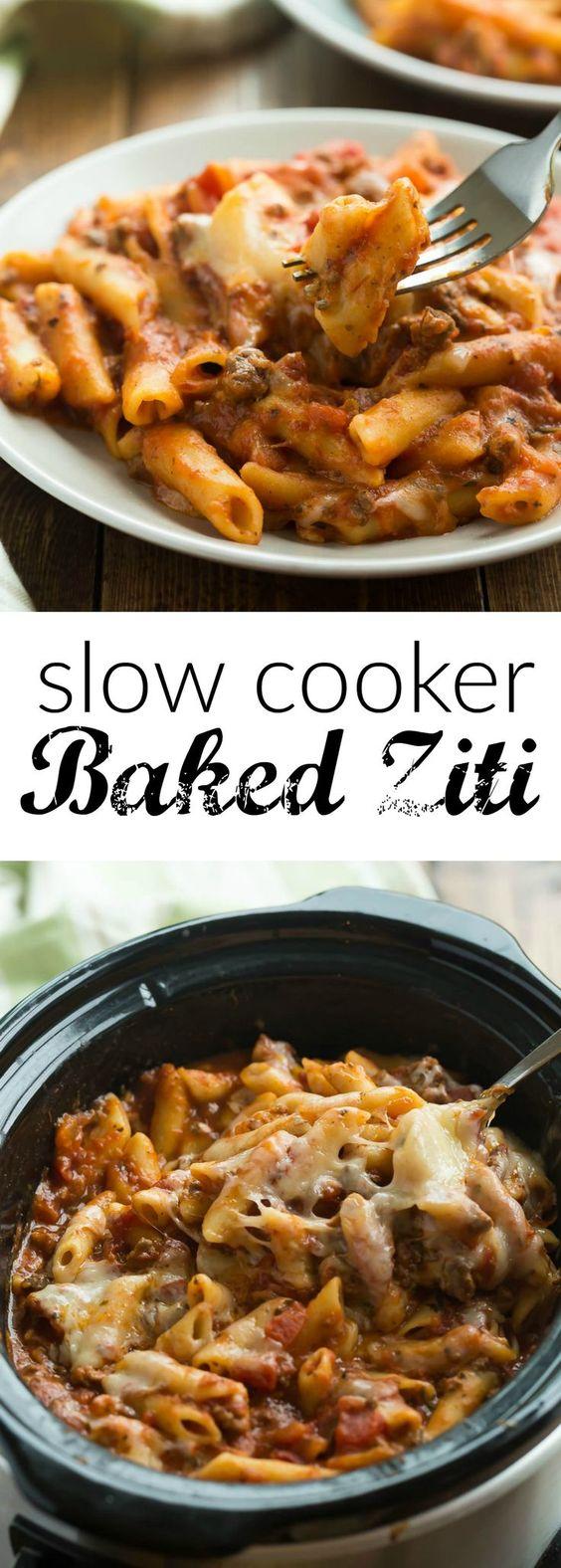 Slow Cooker Baked Ziti #slowcooker #dinner