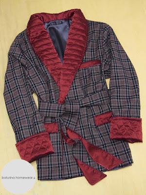 edel elegant herren hausjacke rot grau kariert flanell wolle warm morgenmantel hausmantel kurz smoking jacket gesteppt englisch gefüttert warm