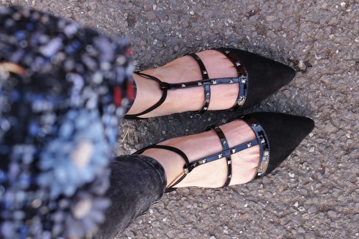 Spitze Nieten Ballerinas Jeansjacke lang