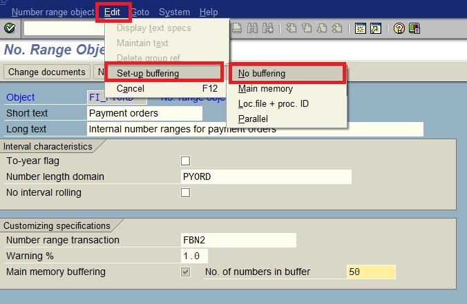 SAP ABAP: How to deactivate number range buffering in