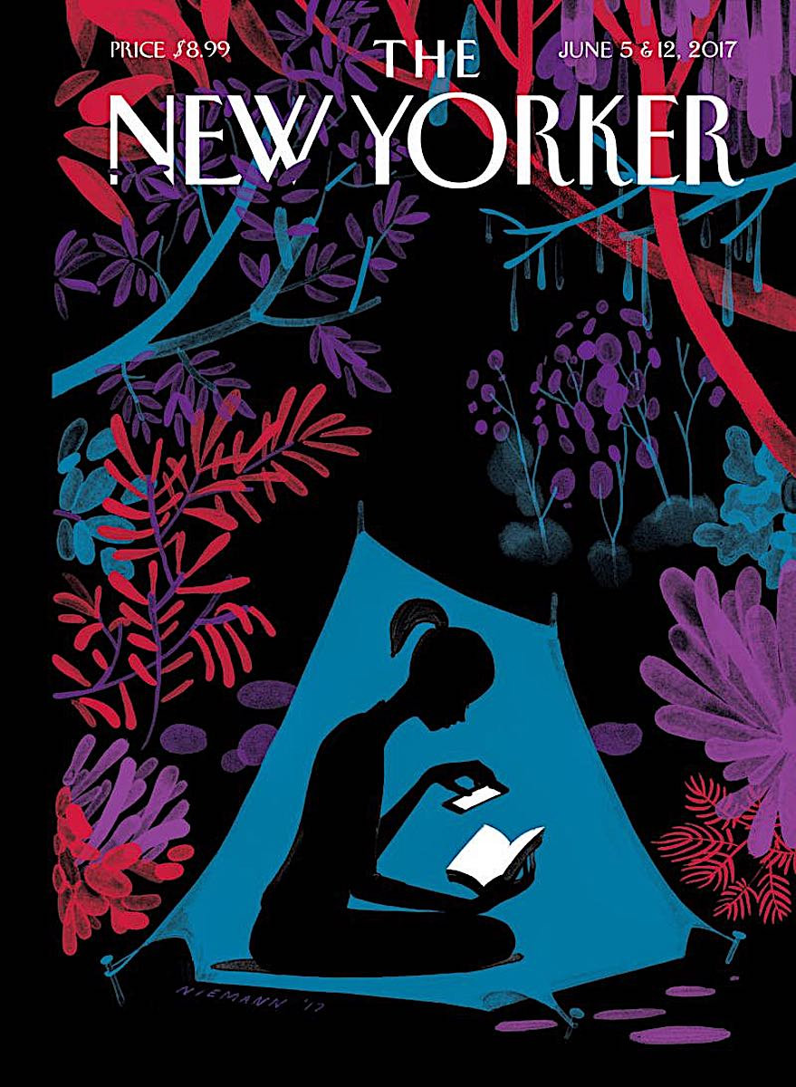a 2017 Christoph Niemann illustration for The New Yorker, woman in tent reading in silhouette