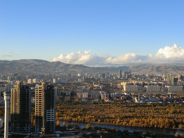 Ulaanbaatar as seen from Zaisan Hill to the south of the city