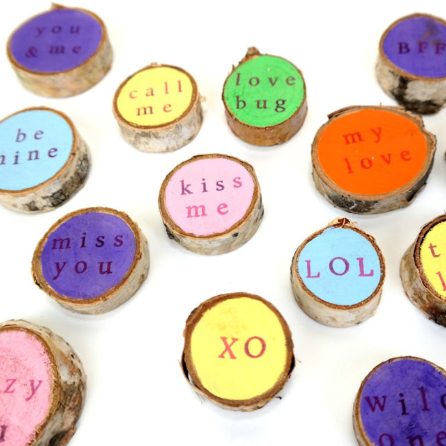 Fun and Colorful Wood Burned and Stamped Mini Valentine Conversation Birch Rounds by Dana Tatar