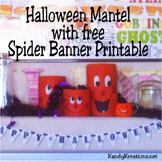 Decorate your mantel for Halloween with thrift store finds and free printable.  You can make a Thrifty Halloween Mantel that will be scarily cool with this Spider Banner and unique jars found for cheap around your house and neighborhood.  You'll have a fun mantel with a bit of scare.