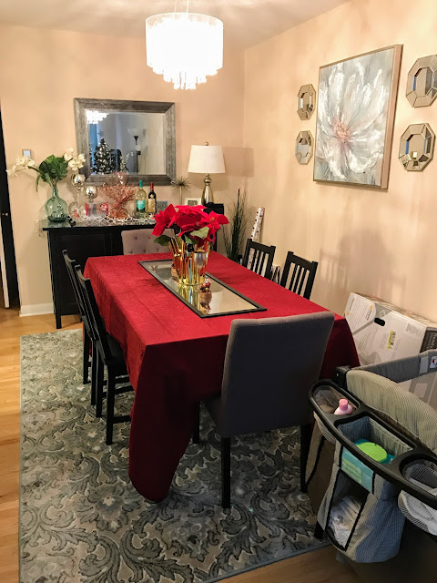 dining room christmas ikea table hemnes server green blue rug buffet lights mirror chandelier jolly home