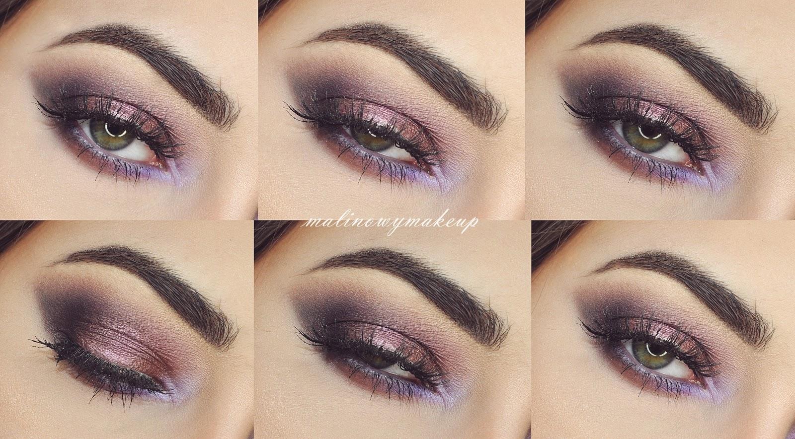 violet purple smokey eyes moky eye makijaż fioletowy fioletowe smokey makijaż do fioletowej sukienki karnawał malinowy makeup chocolate bon bons too faced inglot sweet peach