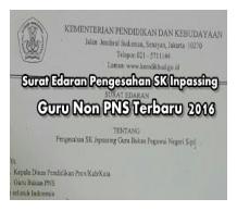 surat edaran sk pengesahan inpassing guru non pns