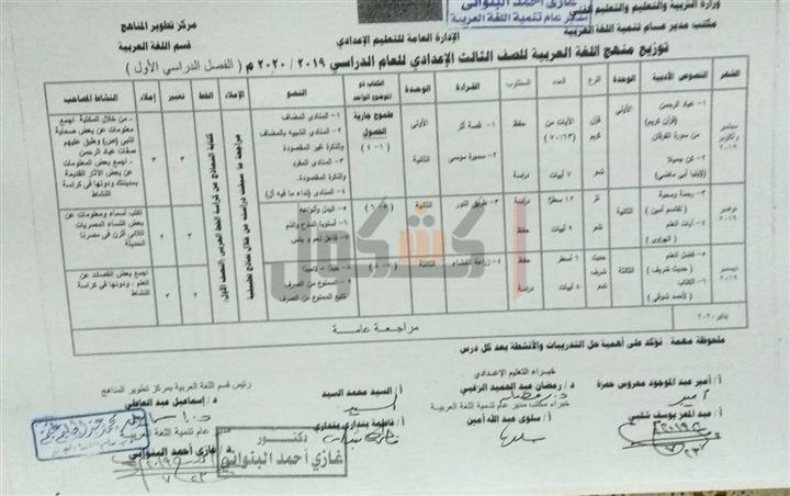 توزيع منهج اللغة العربية الصف الثالث الاعدادي 2020 الترم الأول