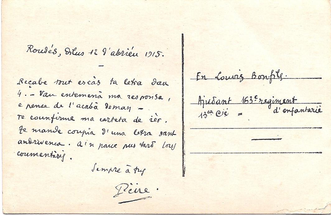 Carte Postale De Pierre Azema A Louis Bonfils