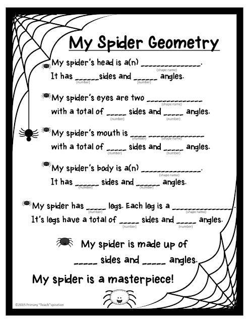 A geometric spider craftivity and spider glyph #spidercraftivity #spiderglyph #Octoberclassroomdecor