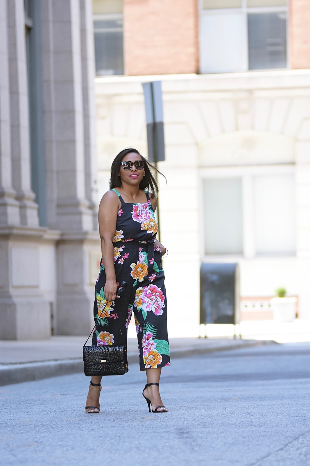Summer Vibes Black Floral Jumpsuit, old navy, tropical prints, summer outfit ideas, baltimore, old navy style, ankle strap heels, linen jumpsuit, summer styles, romper, details, dc bloggers, walking in street, floral print, summer looks