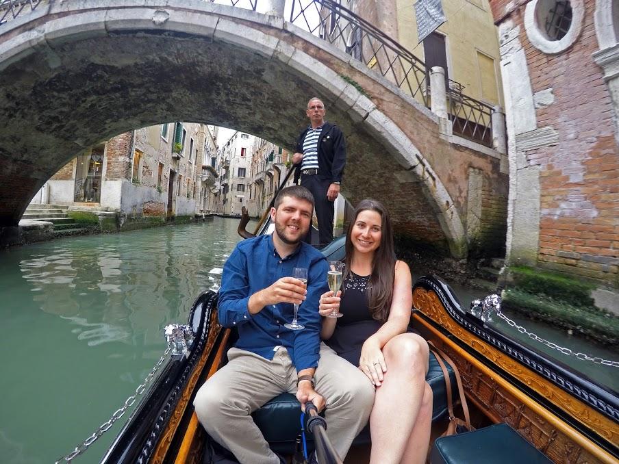 Couple in Gondola in Venice Italy