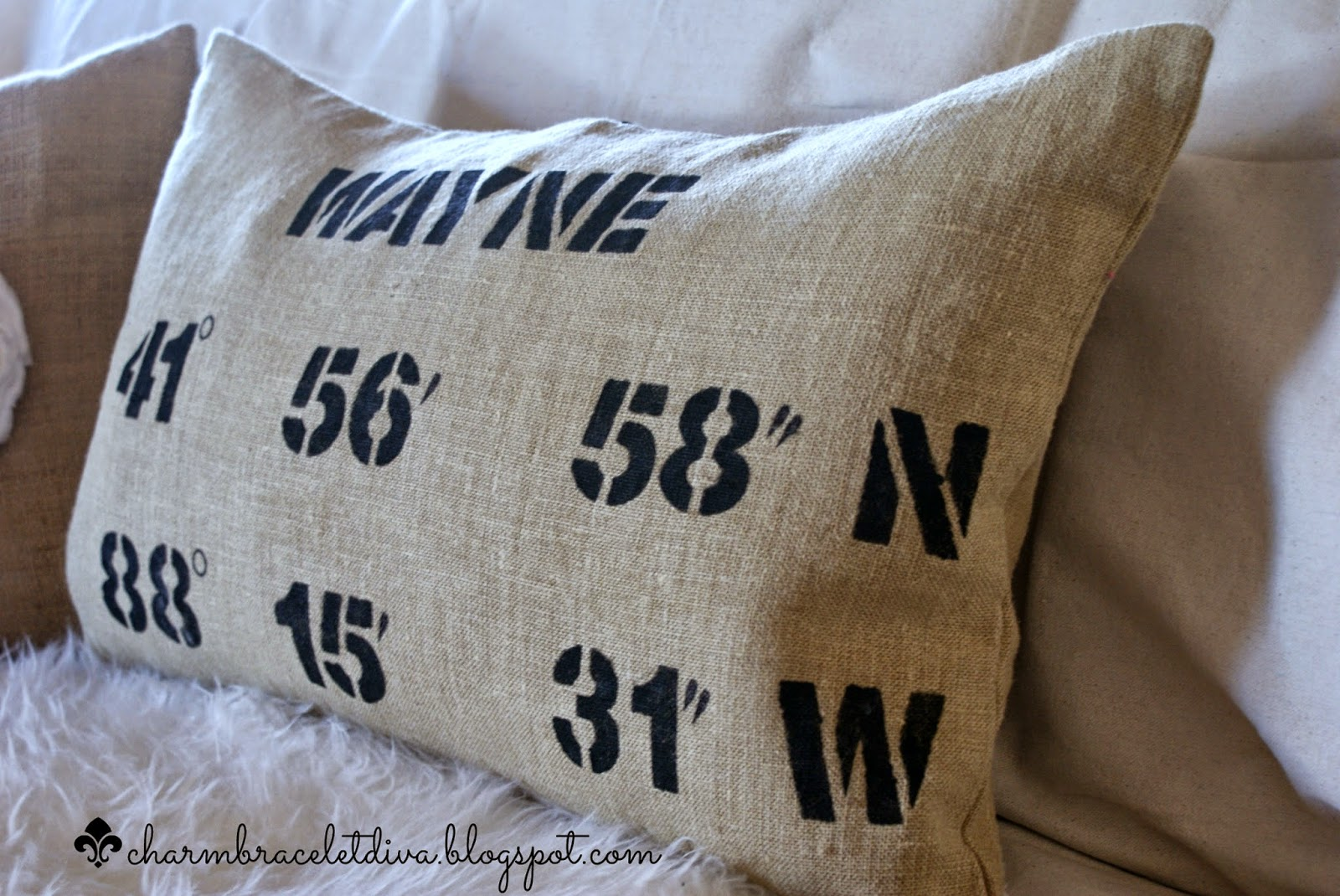 map coordinates pillow, longitude and latitude pillow
