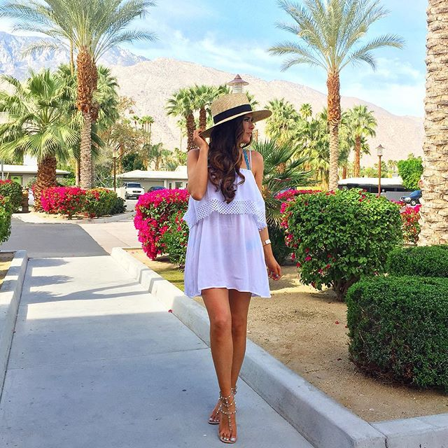 topshop white swimsuit cover up, brixxton hat, the saguaro palm springs, valentino rock stud sandals nude,