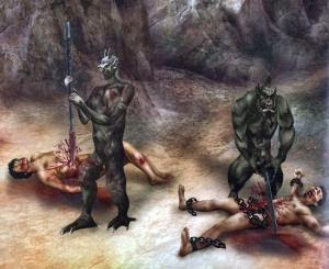 great torment in hell with spear