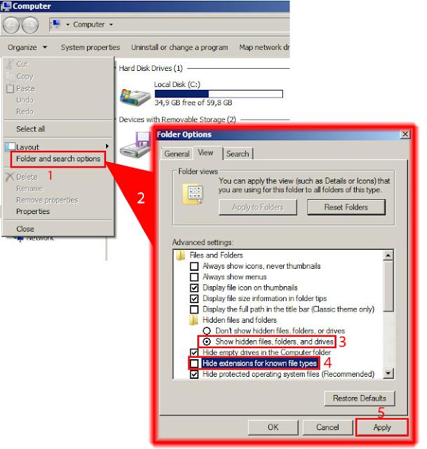 Ocultar extensiones de los archivos conocidos.