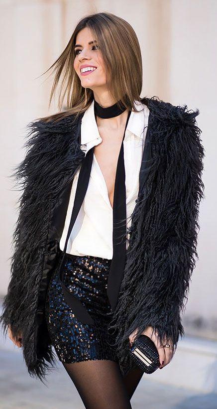 amazing outfit idea | shirt + bag + fur jacket + glitter skirt