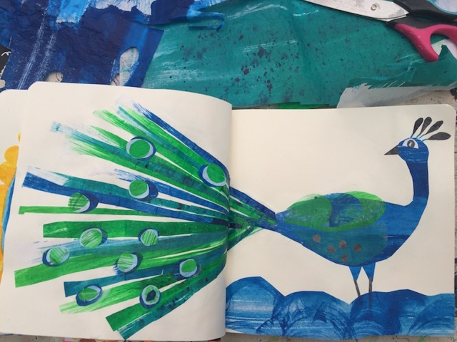 Tracey English, sketchbook, workspace, art, peacock, collage