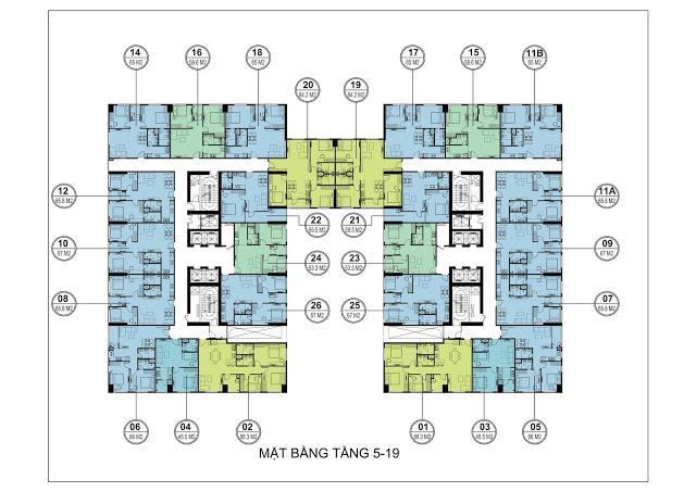 Mặt bằng tầng căn hộ 5-19 tòa HH3 FLC Garden City