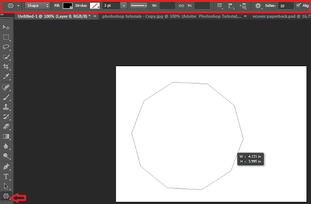 Screenshot: Drawing a regular shape in photoshop