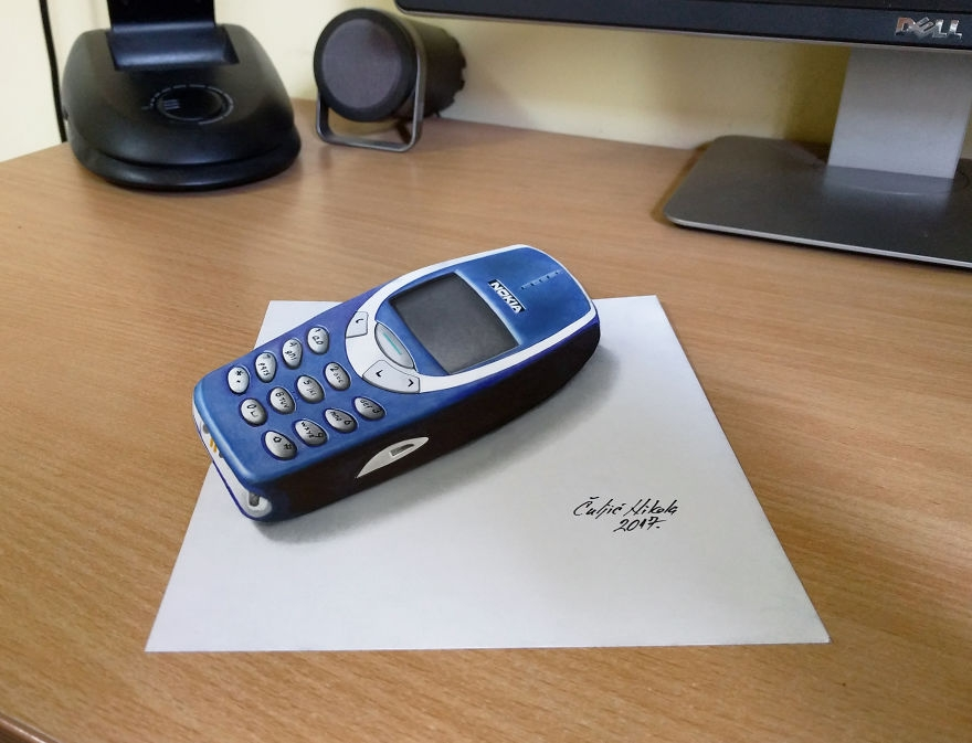 06-Nokia-3310-Nikola-Čuljić-2D-Anamorphic-Drawings-that-Look-3D-www-designstack-co