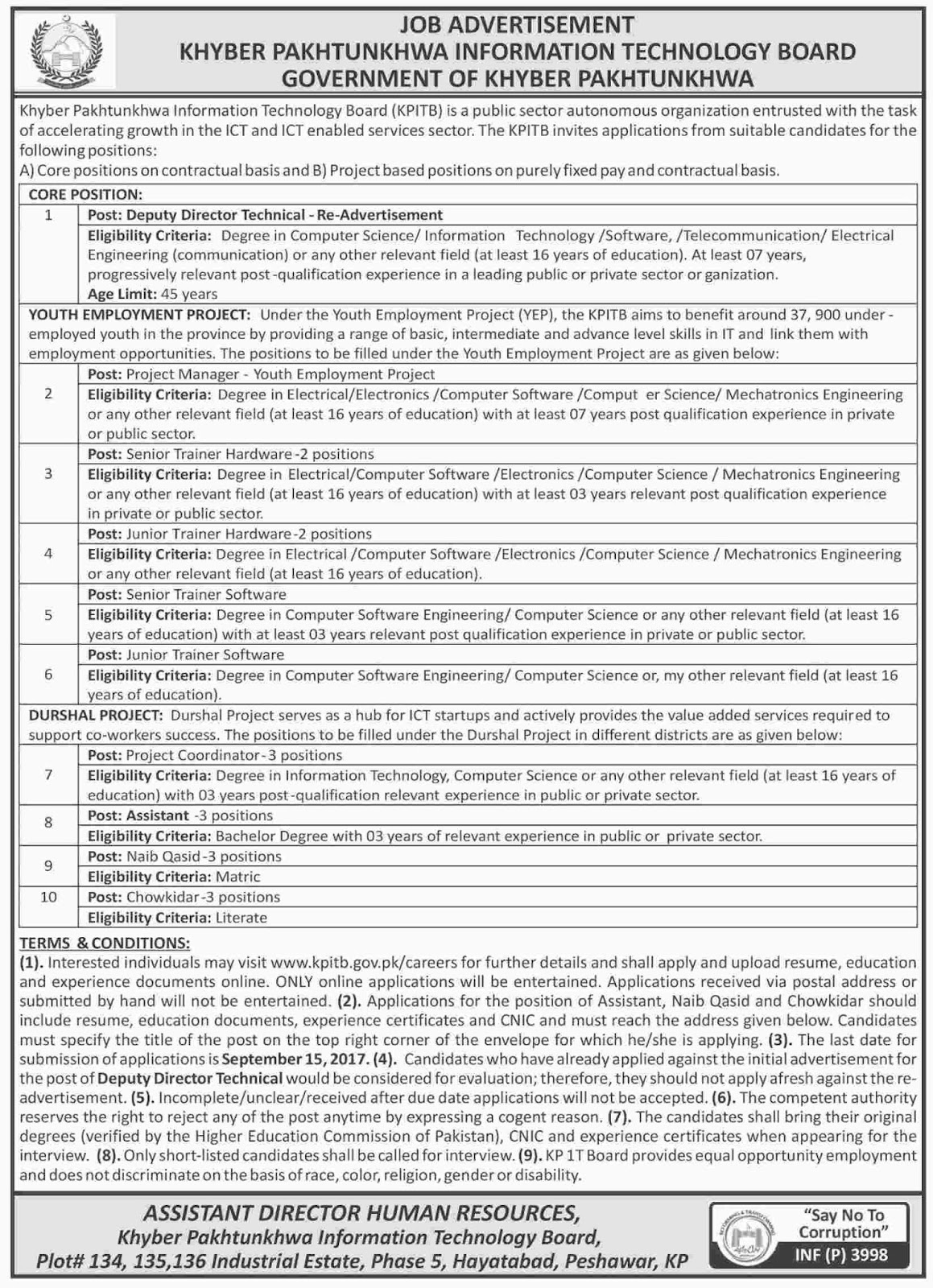 Jobs In Khyber Pakhtunkhwa Information Technology Board Aug 2017