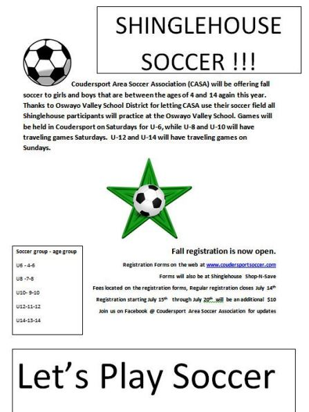7-14 Shinglehouse Soccer Registration Closes