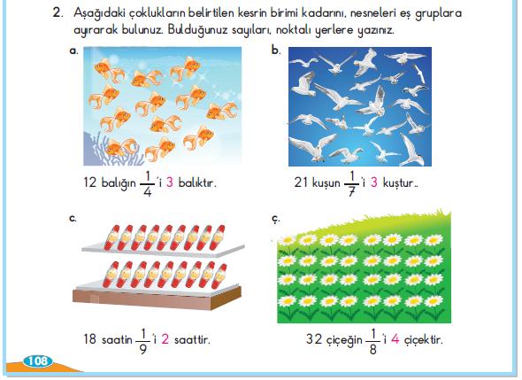 3. Sınıf Berkay Yayınları Matematik Çalışma Kitabı 108. Sayfa Cevapları 4. Çalışma Bir Çokluğun Belirtilen Kesri