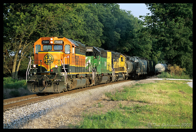 A Trio of BNSF SD40-2s - KCS Godfrey Subdivision - June 2003