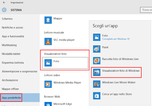 Opzione Visualizzatore foto di Windows in App predefinite