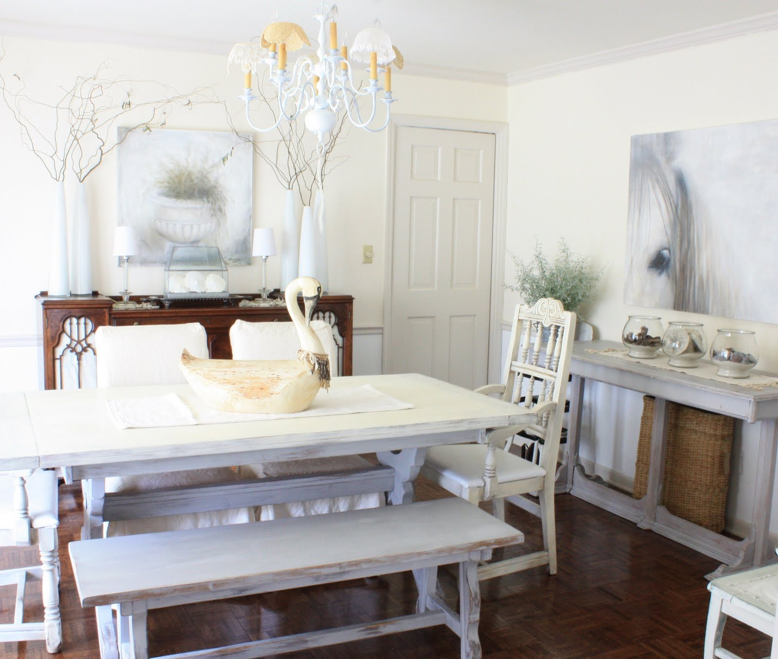 White Harvest Table Erin 39s Art And Gardens Welcome To My Newish Dining Room