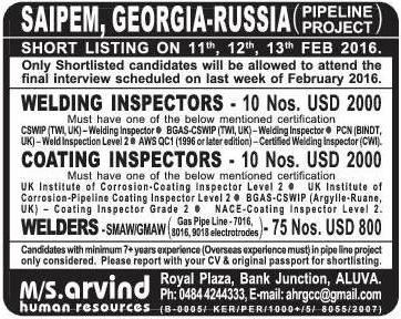 Saipem Georgia Russia Pipeline Project Jobs Gulf Jobs