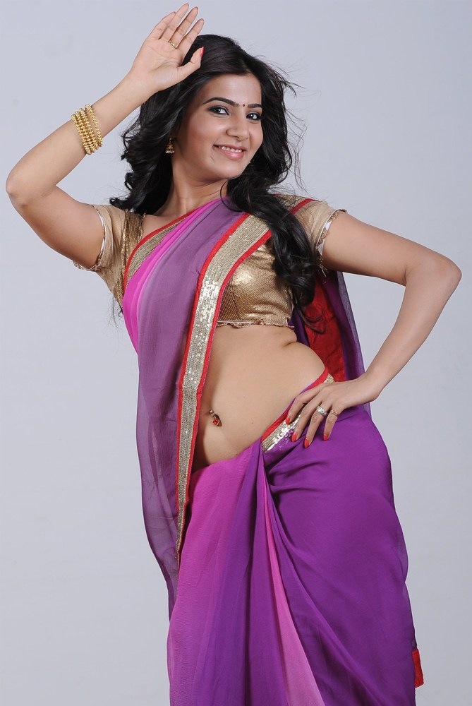 Samantha Recent Hot Navel Stills In Saree - Hd Bollywood -8359
